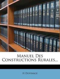 Manuel Des Constructions Rurales...