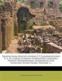 Neapolitana Beatificationis Et Canonizationis V. S. D. Caroli Caraffa Fundatoris Congreg. Piorum Operariorum: Summarium Sive Elenchus Super Dubio, Vol