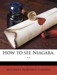 How to see Niagara. --