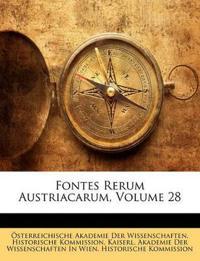 Fontes Rerum Austriacarum, Volume 28