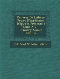 Oeuvres De Leibniz: Projet D'expédition D'égypte Présenté a Louis XIV - Primary Source Edition