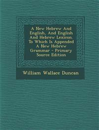 A New Hebrew and English, and English and Hebrew Lexicon. to Which Is Appended a New Hebrew Grammar - Primary Source Edition