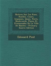 Notices Sur Les Rues, Ruelles, Cours, Impasses, Quais, Ponts, Boulevards, Places Et Promenades de La Ville de Nantes - Primary Source Edition