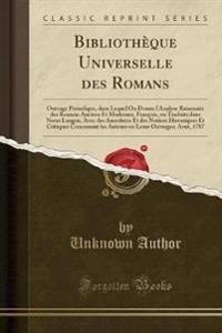 Biblioth�que Universelle Des Romans