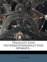 Preisliste Fuer Unterrichtsmodelle Und Apparate...