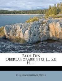 Rede Des Oberlandrabbiners J... Zu H......