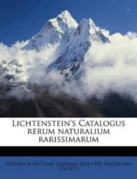 Lichtenstein's Catalogus rerum naturalium rarissimarum