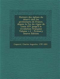 Histoire Des Eglises Du Desert Chez Les Protestants de France, Depuis La Fin Du Regne de Louis XIV Jusqu'a La Revolution Francaise Volume V.1 - Primar