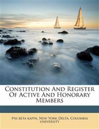 Constitution And Register Of Active And Honorary Members