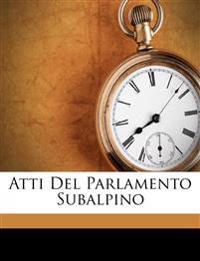 Atti Del Parlamento Subalpino