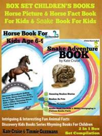 Box Set Children's Books: Horse Picture & Horse Fact Book For Kids & Snake Book For Kids: 2 In 1 Box Set: Intriguing & Interesting Fun Animal Facts - Discovery Kids Books & Rhyming Books For Children