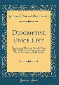 Descriptive Price List