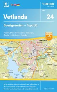 24 Vetlanda Sverigeserien Topo50 : Skala 1:50 000