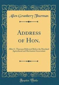 Address of Hon.