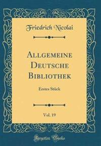 Allgemeine Deutsche Bibliothek, Vol. 19