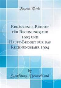 Ergänzungs-Budget für Rechnungsjahr 1903 und Haupt-Budget für das Rechnungsjahr 1904 (Classic Reprint)