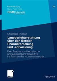 Lageberichterstattung Über Den Bereich Pharmafurschung Und -entwicklung