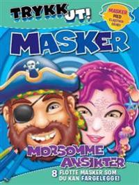 Trykk ut masker. Morsomme ansikter. 8 flotte masker som du kan fargelegge!