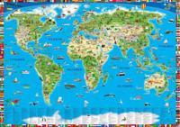 Maailma, lasten kuvitetu seinäkartta (100x70 cm)