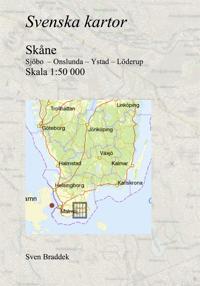 Svenska kartor. Sjöbo  – Onslunda – Ystad – Löderup (Skåne)