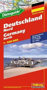 Norra Tyskland Distoguide Hallwag karta : 1:500000
