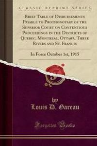 Brief Table of Disbursements Payable to Prothonotary of the Superior Court on Contentious Proceedings in the Districts of Quebec, Montreal, Ottawa, Three Rivers and St. Francis