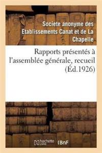 Rapports Pr sent s   l'Assembl e G n rale, Recueil