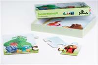 Dunderpuslespill. Tre ulike puslespill med 6, 12 og 16 brikker