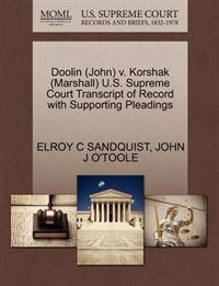 Doolin (John) V. Korshak (Marshall) U.S. Supreme Court Transcript of Record with Supporting Pleadings