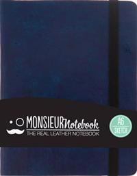 Monsieur Notebook - Real Leather Navy Sketch