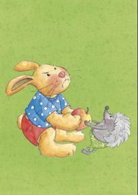 Vennekort. 10 kort i A3-format med bilder av Pinnsvin og Kanin og forslag til aktiviteter