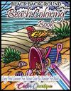 Beach Color by Number Coloring Book for Adults- Large Print Summer Fun BLACK BACKGROUND Mosaic: Ocean Art for Relaxation