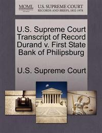 U.S. Supreme Court Transcript of Record Durand V. First State Bank of Philipsburg