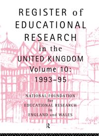 Register of Educational Research in the United Kingdom, 1992-1995