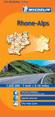 Rhone Alpes Michelin 523 delkarta Frankrike : 1:200000