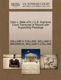 Doto V. State of N J U.S. Supreme Court Transcript of Record with Supporting Pleadings
