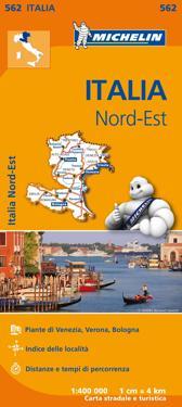 Veneto Trentino Alto Adige Michelin 562 delkarta Italien - 1:400000