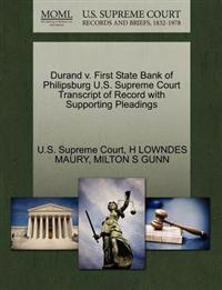 Durand V. First State Bank of Philipsburg U.S. Supreme Court Transcript of Record with Supporting Pleadings