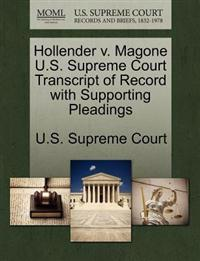 Hollender V. Magone U.S. Supreme Court Transcript of Record with Supporting Pleadings