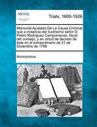 Memorial Ajustado de La Causa Criminal Que a Instancia del Ilustrisimo Se or D. Pedro Rodriguez Campomanes, Fiscal del Consejo, y En Virtud de Decreto de Ste En El Extraordinario de 21.de Diciembre de 1766