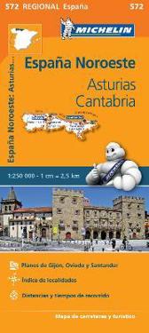 Asturias Cantabria Michelin 572 delkarta Spanien : 1:250000