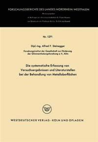 Die Systematische Erfassung Von Versuchsergebnissen Und Literaturstellen Bei Der Behandlung Von Metalloberflächen