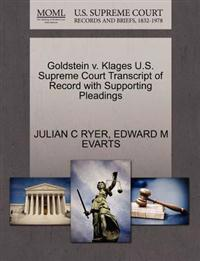Goldstein V. Klages U.S. Supreme Court Transcript of Record with Supporting Pleadings