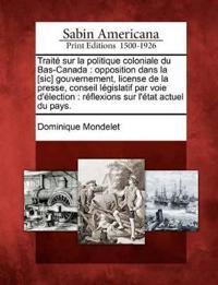 Trait Sur La Politique Coloniale Du Bas-Canada