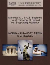 Mancuso V. U S U.S. Supreme Court Transcript of Record with Supporting Pleadings