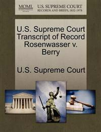 U.S. Supreme Court Transcript of Record Rosenwasser V. Berry