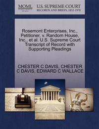 Rosemont Enterprises, Inc., Petitioner, V. Random House, Inc., et al. U.S. Supreme Court Transcript of Record with Supporting Pleadings