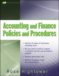 Accounting and Finance Policies and Procedures, (with Url)