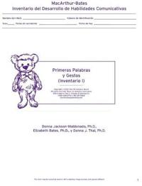 Macarthur Communicative Development Inventories (Cdis)  Inventario I: Primeras Palabras y Gestos (Package of 25)