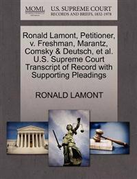 Ronald Lamont, Petitioner, V. Freshman, Marantz, Comsky & Deutsch, et al. U.S. Supreme Court Transcript of Record with Supporting Pleadings